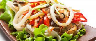 Салат с кальмарами диетический
